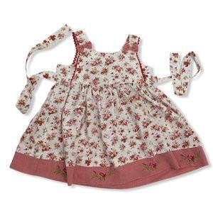 Blueberi Blvd Red Floral RicRac Embroidered Dress